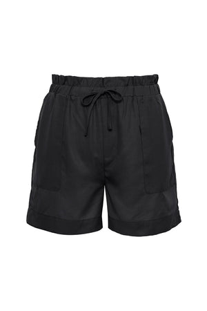 The Tencel Paperbag Short in black.