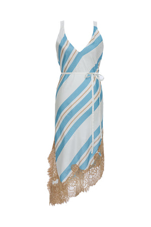The Bold Stripe Dress in baby blue. Shown with a thin, white sash around the waist.