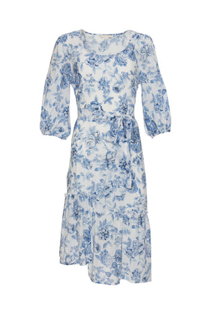 The Provence Peasant Dress in navy provence toile; shown with matching sash worn as belt.