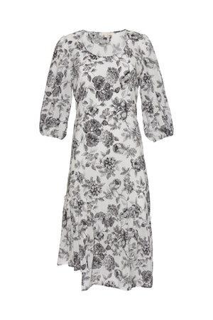 The Provence Peasant Dress in black provence toile.