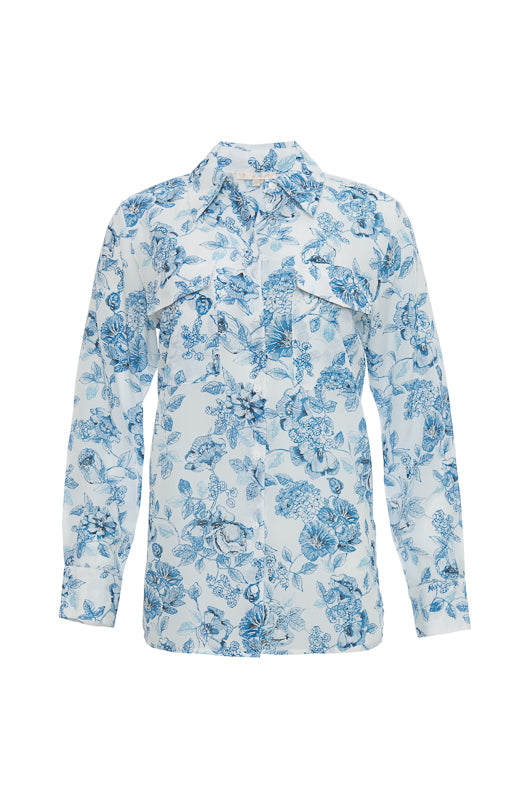 The Provence Shirt in navy provence toile.