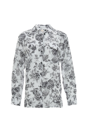 The Provence Shirt in black provence toile.