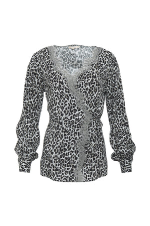 The Animal Print Wrap Top in grey leopard animal print.