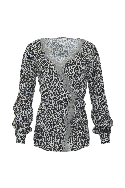 The Animal Print Wrap Top in pink leopard animal print.