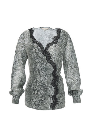 The Python Wrap Top in grey python.