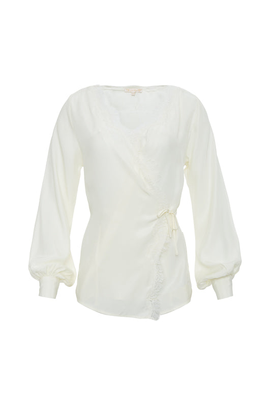 The Silk Wrap Top in dove.