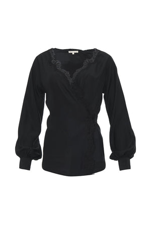 The Silk Wrap Top in black.