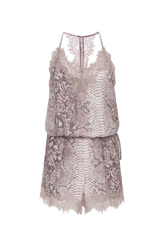 The Python Romper in muted rose python.