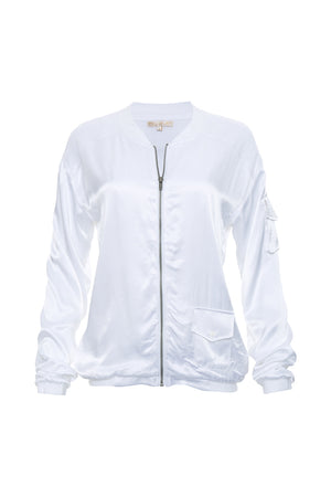 The Hayley Bomber Jacket in bright white.