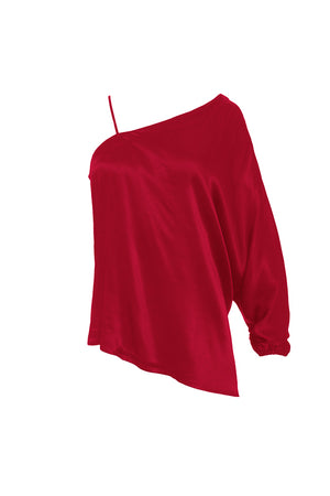 The Hayley One Shoulder Top in fiery red.