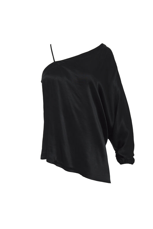 The Hayley One Shoulder Top in black.