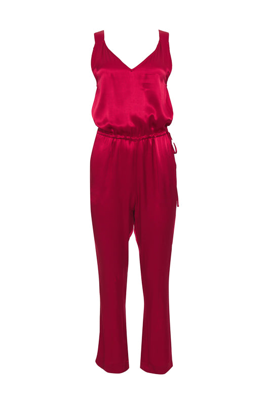 The Hayley Jumpsuit in fiery red.