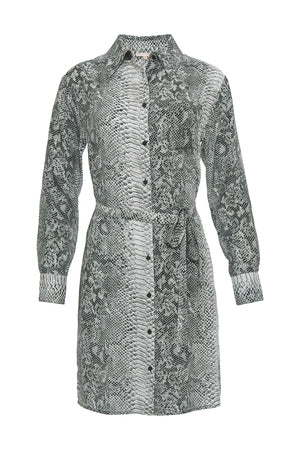 The Python Shirt Dress in grey python.