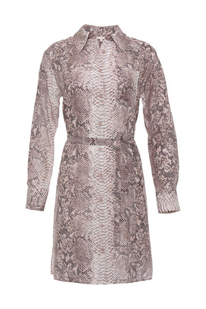 The Python Shirt Dress in muted rose python.