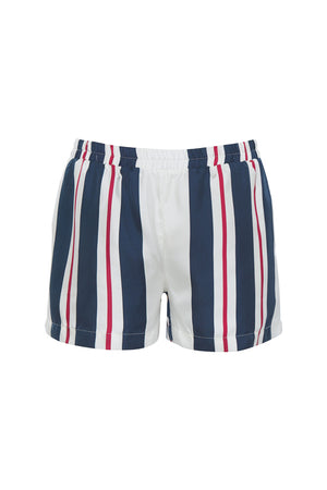 The Bold Stripe Short in navy.