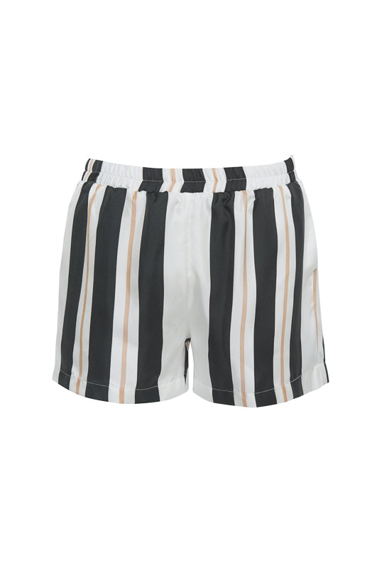 The Bold Stripe Short in black.