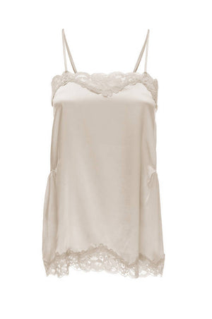 The Charlotte Lace Silk Cami in off white.