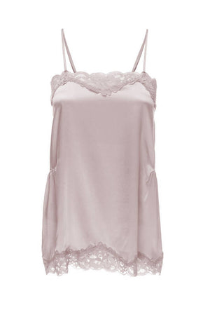 The Charlotte Lace Silk Cami in pale mauve.