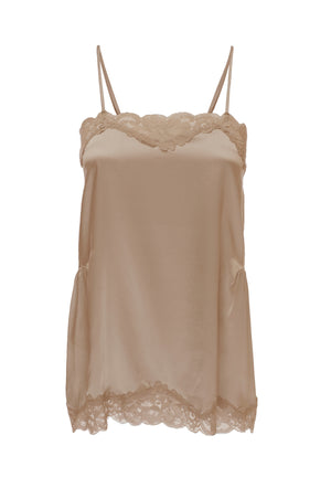 The Charlotte Lace Silk Cami in camel.