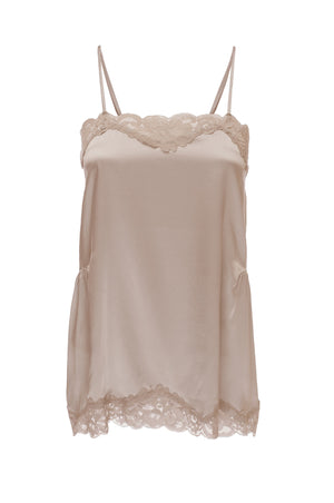 The Charlotte Lace Silk Cami in nude.