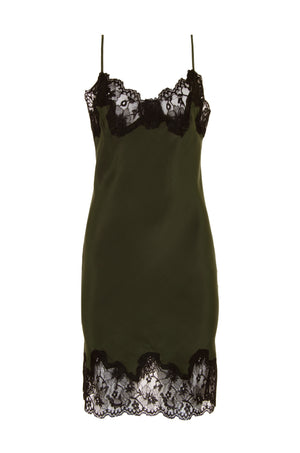 The Marilyn Lace Silk Slip Dress in duffel green with black lace.