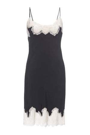 The Marilyn Lace Silk Slip Dress in black with vanilla lace.