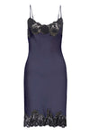 The Marilyn Lace Silk Slip Dress in navy with black lace.