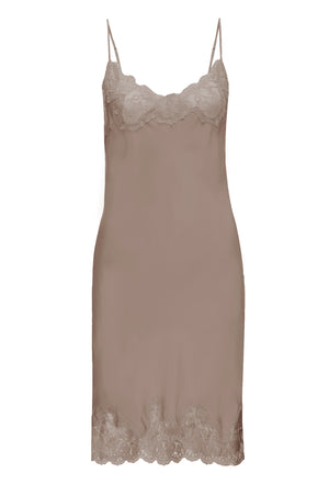 The Marilyn Lace Silk Slip Dress in taupe.