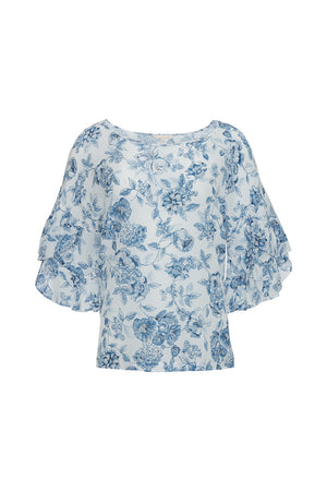 The Provence Ruffle Sleeve Tee in navy provence toile.