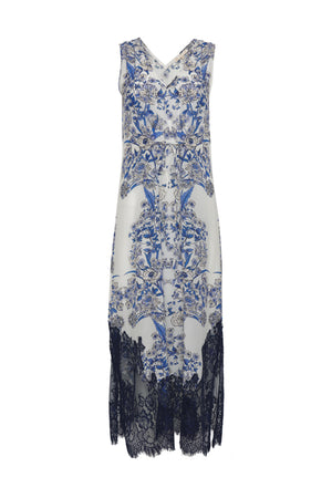 The French Toile Draw Dress in navy toile.
