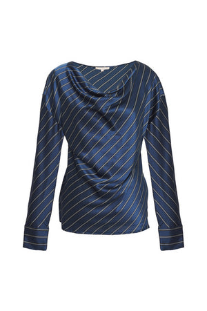 Stripe Cowl Long Sleeve Top