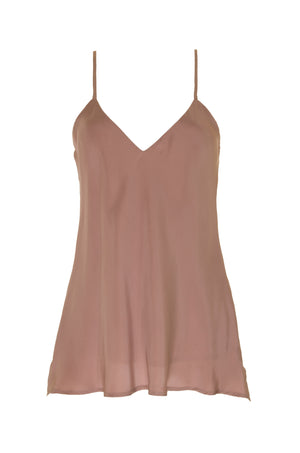 The Double Silk Solid Cami in rose taupe.