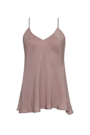 The Double Silk Solid Cami in muted rose.