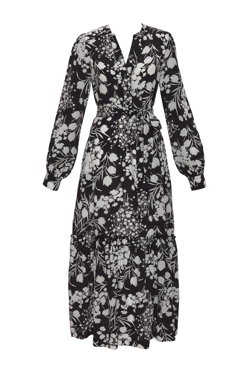 Shadow Print Sleeve Dress
