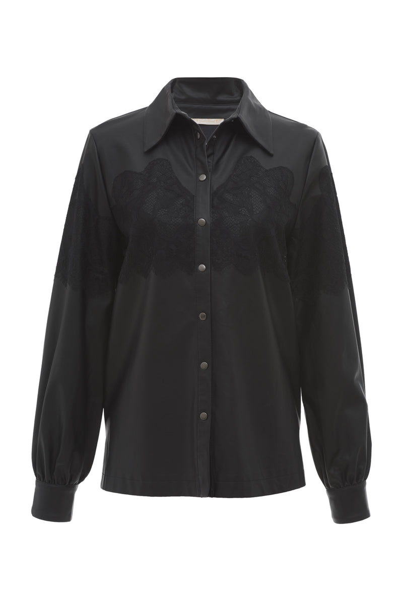 Faux Leather Lace Inset Shirt