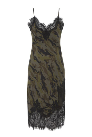 Camo Coco Print Silk Slip Dress