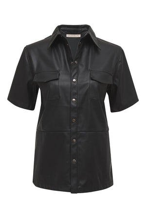 Faux Leather Short Sleeve Shirt
