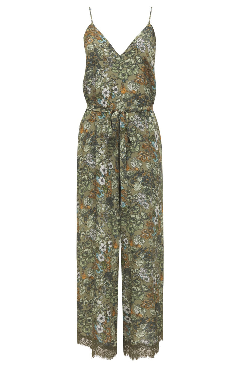 Tropical Jumpsuit Dark Olive