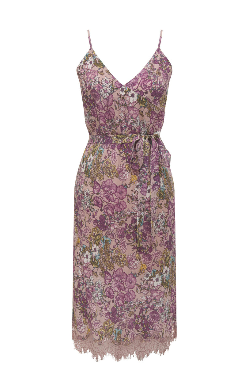 Tropical Bias Dress Muted Rose