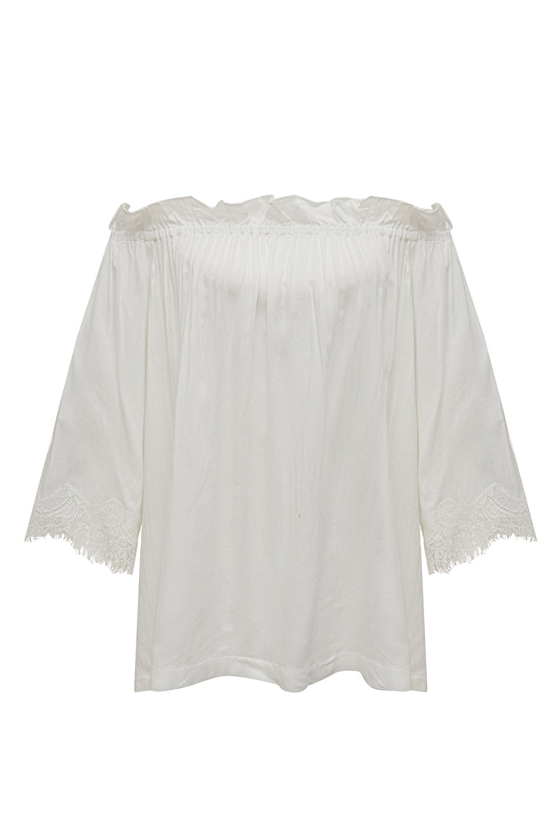 Powder Linen Ruffle Top