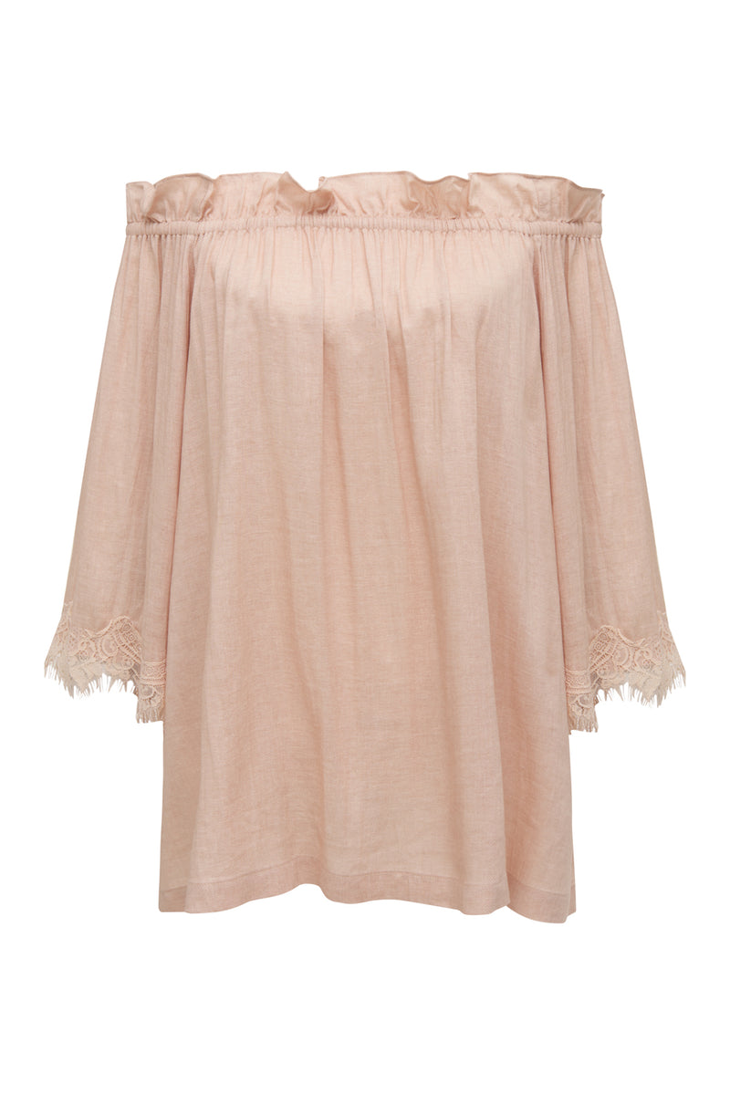 Powder Linen Ruffle Top Pale Peach
