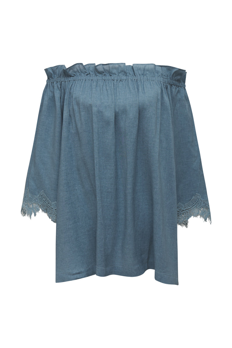 Powder Linen Ruffle Top Denim Blue