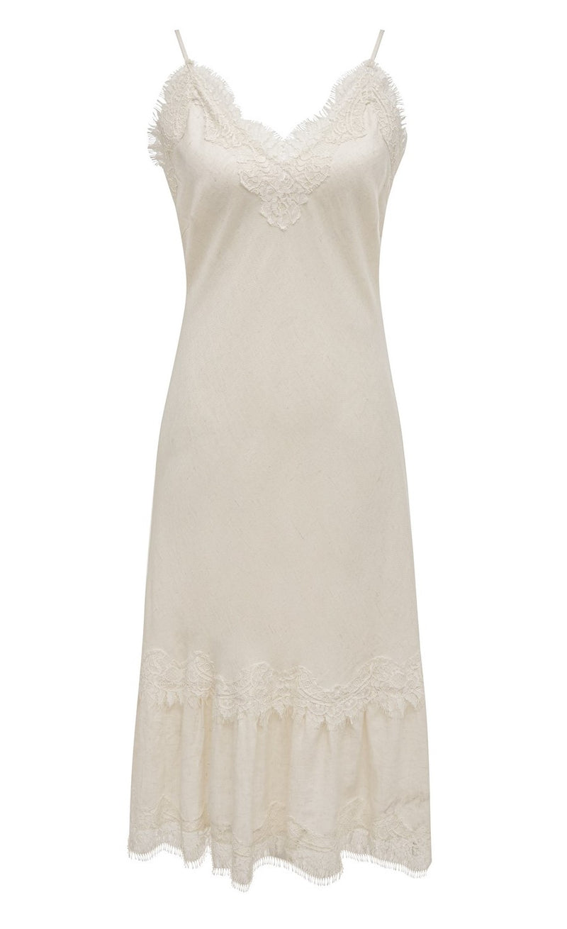 Powder Linen Bias Dress Dove