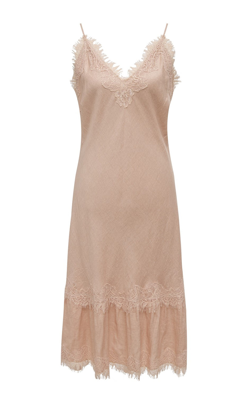 Powder Linen Bias Dress Pale Peach