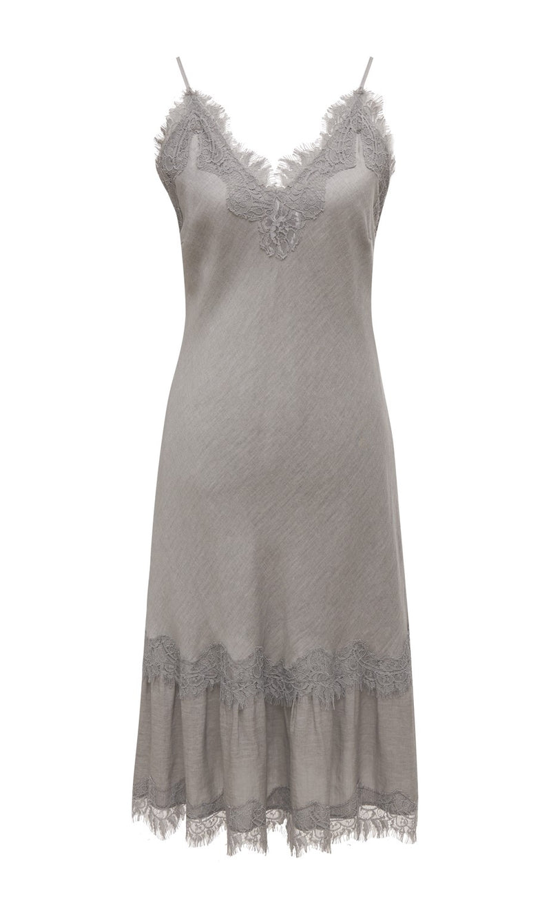 Powder Linen Bias Dress Steeple Grey