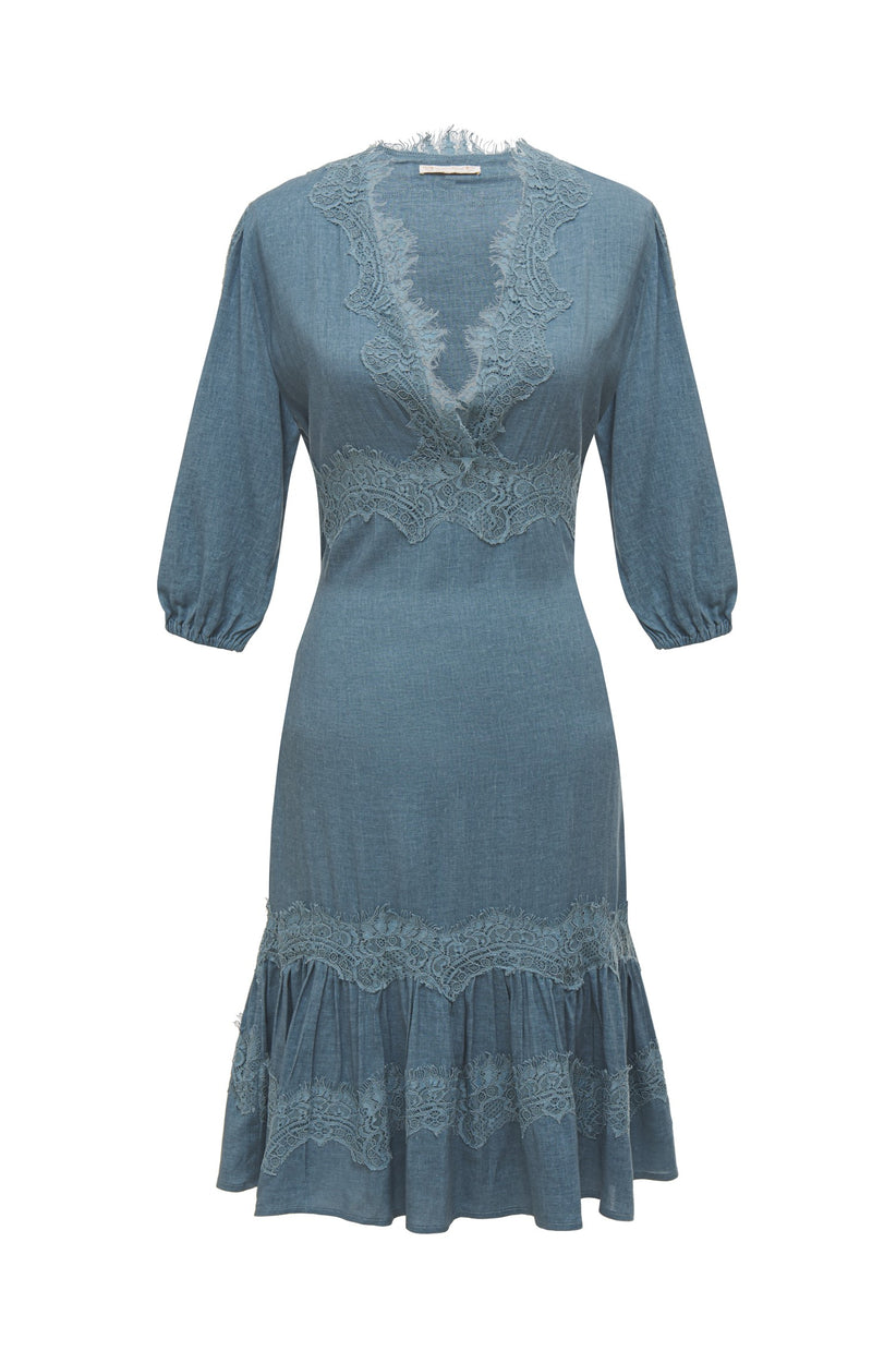 Powder Linen Midlength Dress Denim Blue