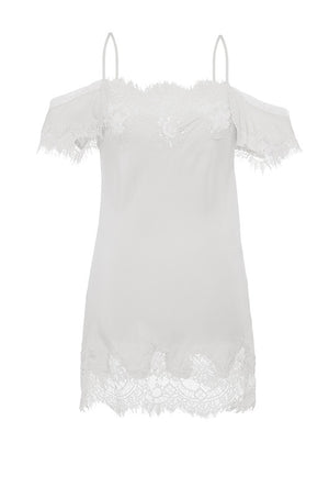 The Gigi Lace Silk Cami in white.