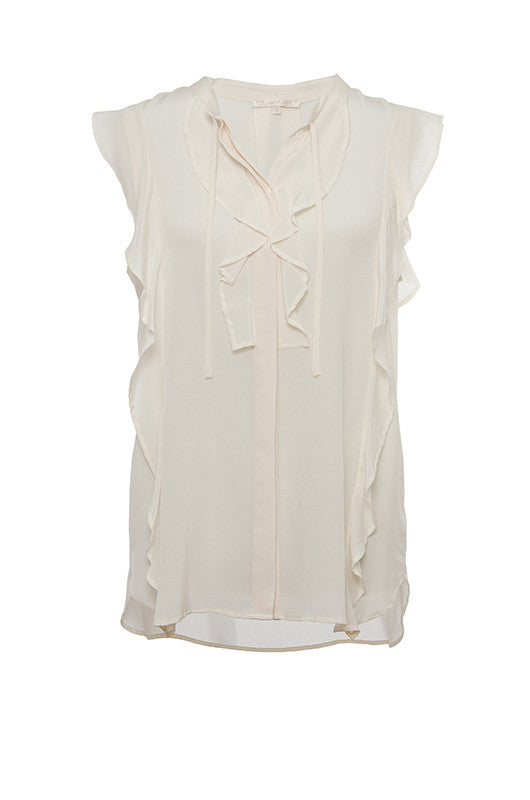 The Silk Ruffle Self-Tie Top in off white.