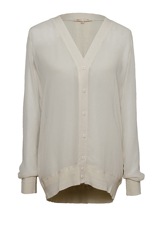 The Sheer Silk Cardigan in off white.
