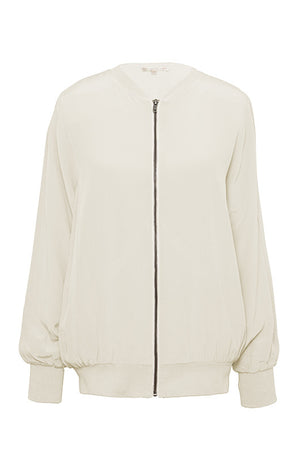 The Silk Bomber Jacket in off white.
